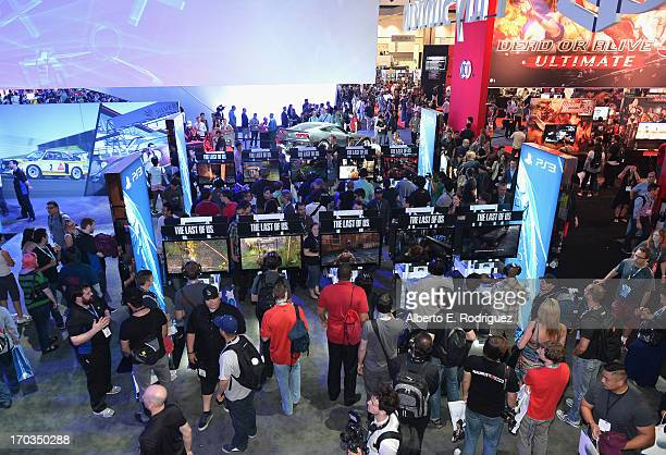 A view from the Sony Playstation platform at the E3 Gaming and Technology Conference at the Los Angeles Convention Center on June 11 2013 in Los...