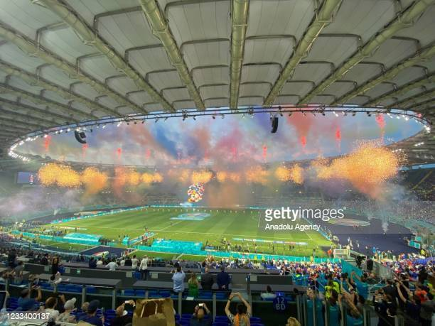 View from the Stadio Olimpico during an opening ceremony of the tournament ahead of UEFA EURO 2020 Group A match between Turkey and Italy in Rome,...