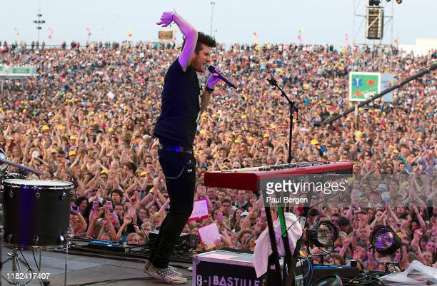 A view from the stage as Dan Smith lead singer of British alternative rock band Bastille performs at Concert at Sea festival Renesse Netherlands 27th...