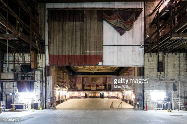 A view from the stage looking out including the original stage curtain at Alexandra Palace Theatre on May 16 2014 in London England Alexandra Palace...