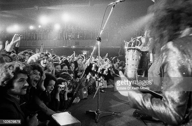 View from the stage looking towards the audience as Marc Bolan of T Rex performs in 1972.