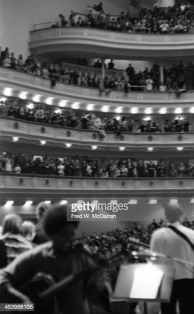 View from the stage of the audience at the 'A Tribute to Woody Guthrie' concert at Carnegie Hall New York New York January 20 1968