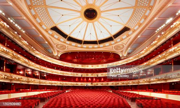View from the stage of the Auditorium of the Royal Opera House Covent Garden on January 21,2020 in London,England.