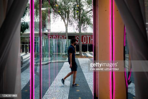 "View from the stage of the theater play ""Seven Deadly Sins"" inside a vacant store window at Lincoln Road in Miami Beach, Florida on December 23,..."