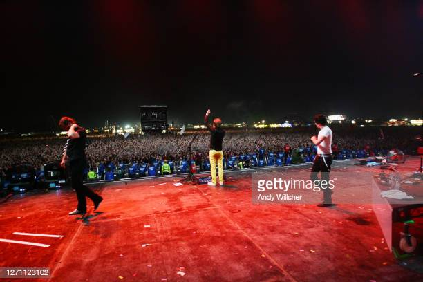 View from the stage showing the audience as rock band MUSE, backstage and performing at Reading Festival in 2006