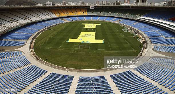 View from the stands of the Maracana football stadium and the field where the organizers have placed two huge Brazilian national team jerseys 30...
