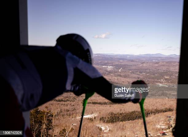 """View from the start before Joachim Lein of the University of Utah""""u2019s second run in the men""""u2019s slalom at the NCAA Skiing Championships on..."""