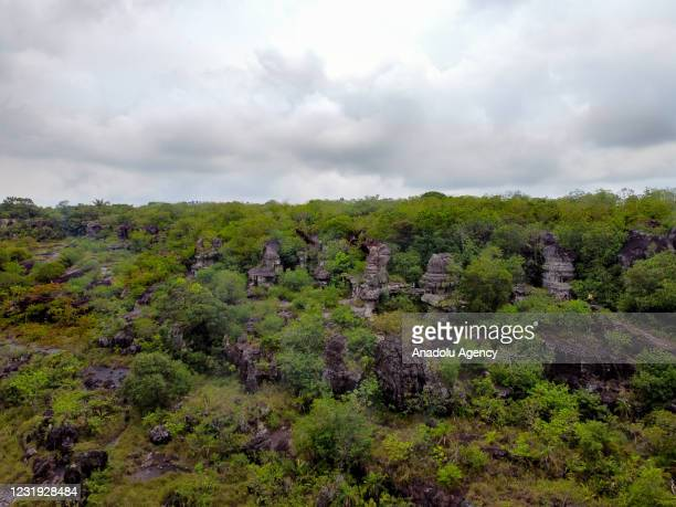View from the stone formation called Puerta de Orion , an imposing rocky structure higher than 12 meters and 15 meters in width, in San Jose del...