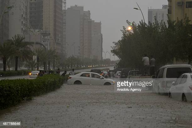 A view from the streets in the Muslim holy city of Mecca after the heavy rain and storm in Saudi Arabia on September 11 2015 Mecca where hosts...