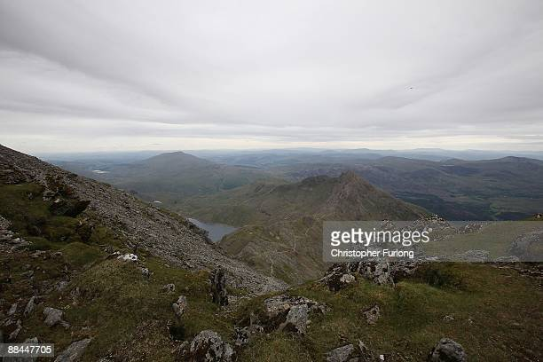 A view from the summit of Mount Snowdon on June 12 2009 in Llanberis Wales The new £84m visitor centre and cafe on the summit of Snowdon which was...