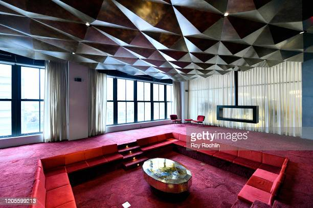 View from The Sunken Living room in Spring Studios during New York Fashion Week: The Shows - Day 6 at Spring Studios on February 11, 2020 in New York...