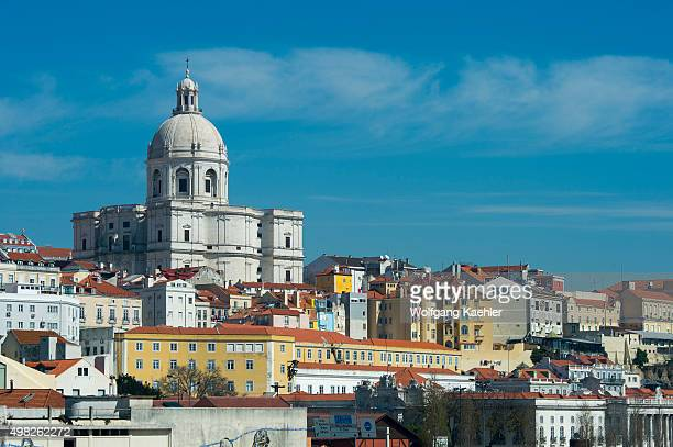 View from the Tagus River of Lisbon the capital city of Portugal with the old city Alfama and the Church of Santa Engracia