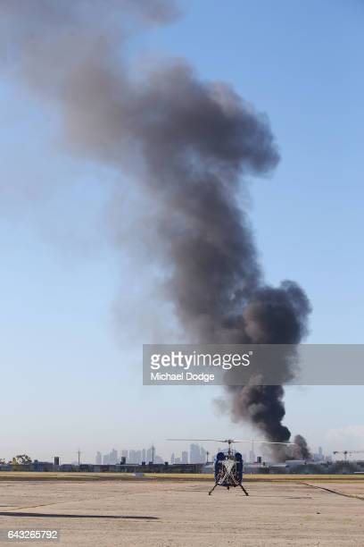 A view from the tarmac at Melbourne's Essendon Airport is seen after a charter plane leaving the airport crashed on February 21 2017 in Melbourne...