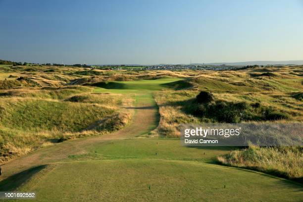 A view from the tee on the 189 yards par 3 sixth hole 'Harry Colt's' on the Dunluce Links at Royal Portrush Golf Club the venue for The Open...