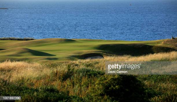 View from the tee on the 382 yards par 4, fifth hole 'White Rocks' on the Dunluce Links at Royal Portrush Golf Club the venue for The Open...