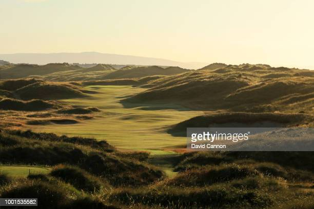 A view from the tee on the 590 yards par 5 seventh hole 'Curran Point' on the Dunluce Links at Royal Portrush Golf Club the venue for The Open...