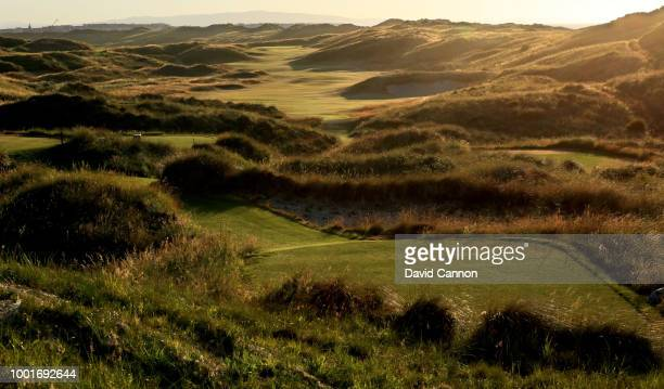 View from the tee on the 590 yards par 5, seventh hole 'Curran Point' on the Dunluce Links at Royal Portrush Golf Club the venue for The Open...