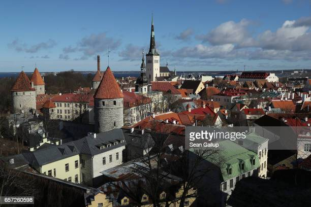 A view from the terrace on Toompea hill shows the historic city center including St Olaf's Baptist Church on March 24 2017 in Tallinn Estonia...