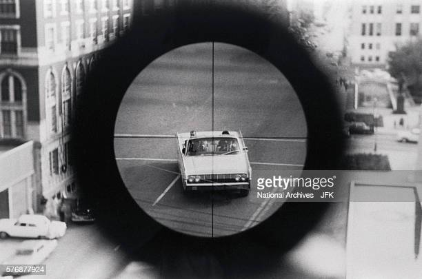 View from the Texas Book Depository of the Dallas Police reenacting the assassination of John Fitzgerald Kennedy