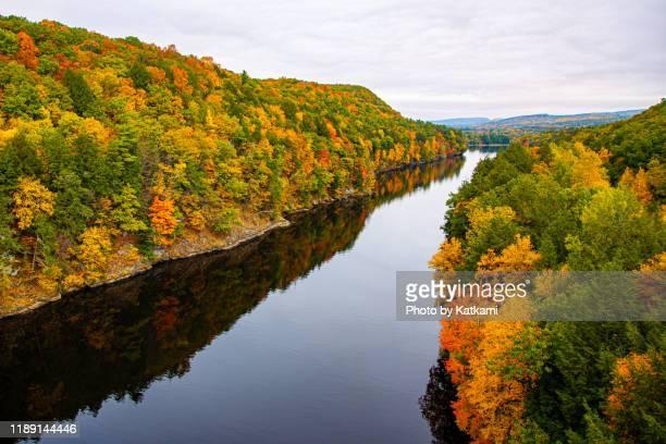 view from the the french king bridge in gill, massachusetts - flussbett stock-fotos und bilder