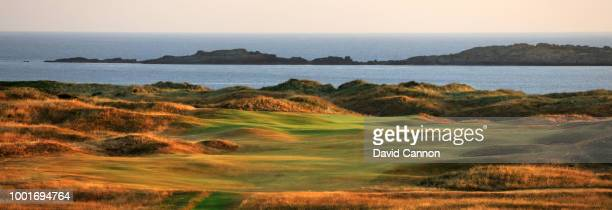 View from the third green of the 418 yards par 4, 15th hole 'Skerries' on the Dunluce Links at Royal Portrush Golf Club the venue for The Open...