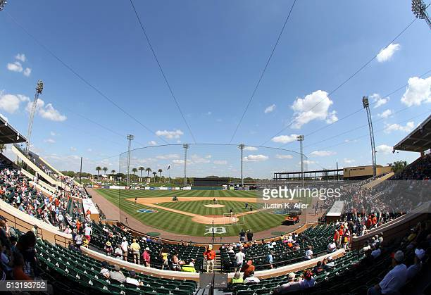 A view from the Tiger spring training home Joker Marchant Stadium before the game between the Pittsburgh Pirates and the Detroit Tigers at Joker...