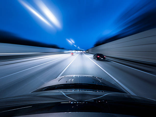 View From The Top Of A Car Driving Down A Motorway At Speed Wall Art