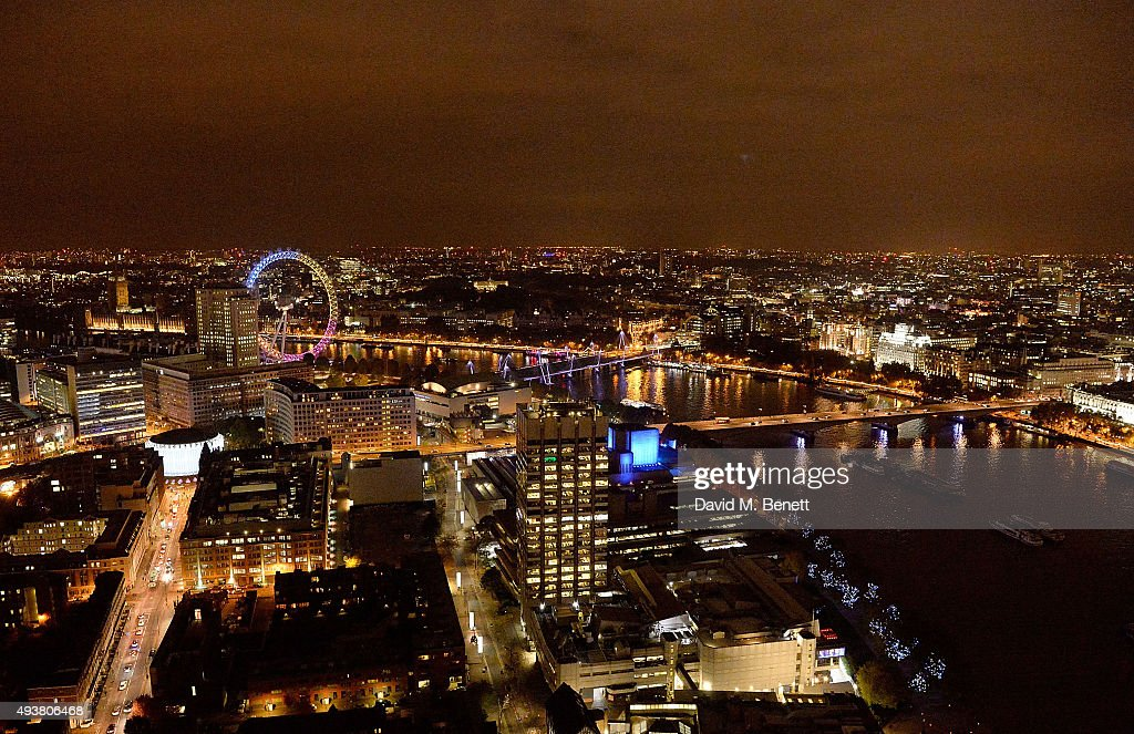 View from the top of new landmark 41-storey development, South Bank Tower, with an exclusive event in the penthouse complete with a private performance by Paloma Faith, at South Bank Tower on October 22, 2015 in London, England.