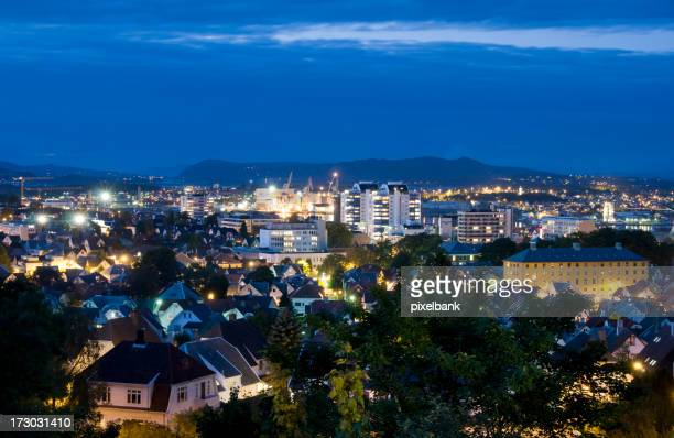 View from the top of Stavanger at night