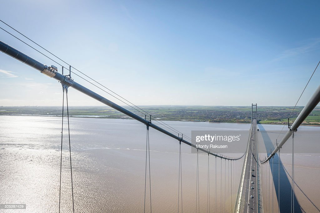 View from the top of suspension bridge. The Humber Bridge, UK was built in 1981 and at the time was the worlds largest single-span suspension bridge : Stock Photo
