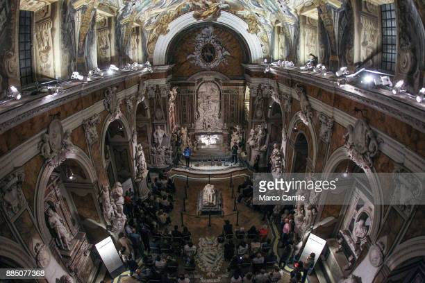 View from the top of the chapel of Sansevero, with the sculpture of the veiled Christ lying in the middle.