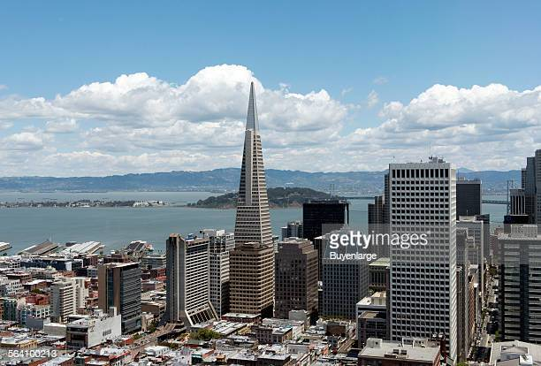 View from the Top of the Mark Restaurant at the Mark Hopkins Intercontinental Hotel located on Nob Hill San Francisco California