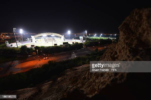 View from the top of the mountain opposite the stadium prior to the start of the round of 16 match between Nigeria and Iran at Khalifa Bin Zayed...