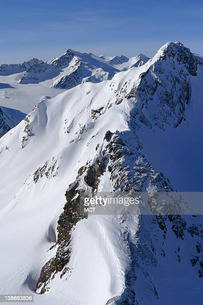 View from the top of the mountains of the Soelden ski area in the Australian Alps