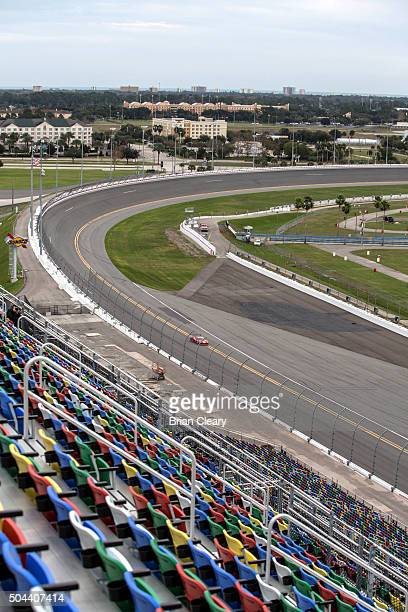 View from the top of the newly renovated stadium granstands during IMSA testing at Daytona International Speedway on January 10 2016 in Daytona Beach...