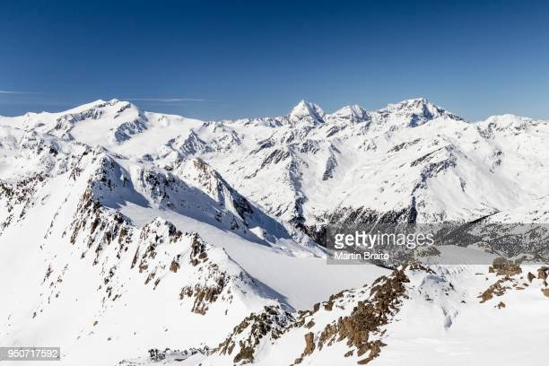 view from the top rear hintere nonnenspitze in martell valley, behind the ortler group from the right the ortler, monte zebru, koenigsspitze, monte cevedale, martell, vinschgau, alps, province of south tyrol, region of trentino-alto adige, italy - martell valley italy stock photos and pictures
