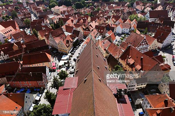 view from the tower of the daniel or st.-georgs-kirche church to the east on the church roof, noerdlingen, swabia, bavaria, germany, europe - kirche - fotografias e filmes do acervo