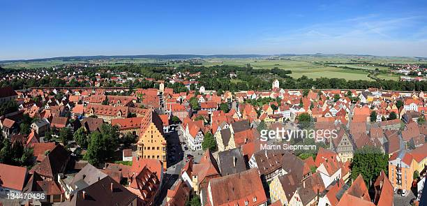 view from the tower of the daniel or st.-georgs-kirche church to the west, noerdlingen, swabia, bavaria, germany, europe - kirche - fotografias e filmes do acervo