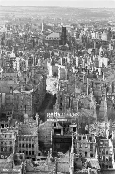 View from the Town Hall tower over destroyed houses to the Annenkirche in Dresden Germany unknown date Photo Deutsche Fotothek / Richard Peter jun