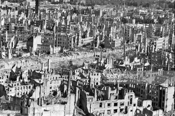 View from the Town Hall tower over the destroyed city centre with the Grunaer Straße in Dresden Germany unknown date Photo Deutsche Fotothek /...