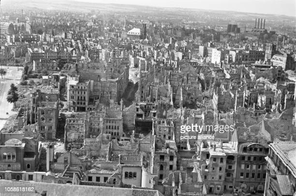View from the Town Hall tower overlooking destroyed apartment buildings the Annenkirche and the Kraftwerk Mitte in Dresden Date unknown Photo...
