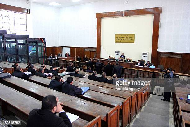 View from the trial of 190 Muslim Brotherhood defendants including Mohamed El-Beltagy and Brotherhood's Supreme Guide Mohamed Badie, charged with...