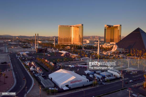 A view from the Tropicana Hotel shows the scene of the Route 91 Harvest music festival including the Mandalay Bay Hotel the site of last week's mass...