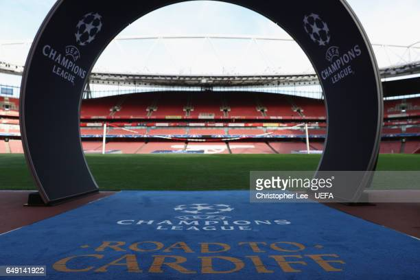 A view from the tunnel showing the Champions League carpet and arch during the UEFA Champions League Round of 16 second leg match between Arsenal FC...
