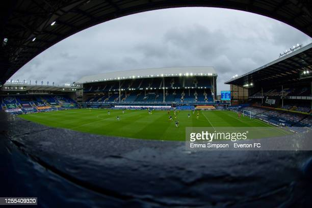 A view from the Upper Bullens stand during the Premier League match between Everton FC and Southampton FC at Goodison Park on July 09 2020 in...