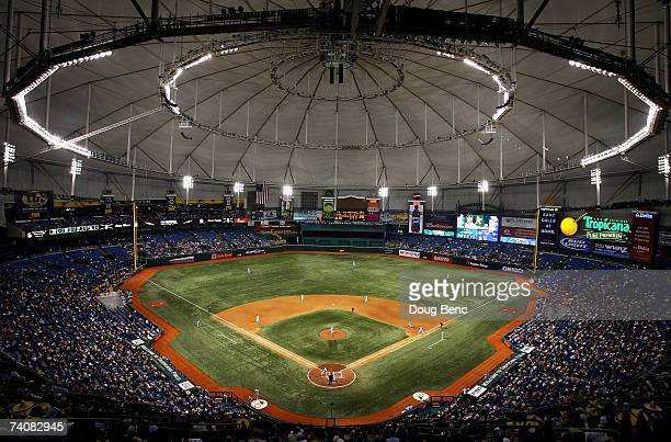 View from the upper deck as the Oakland Athletics take on the Tampa Bay Devil Rays at Tropicana Field on May 5, 2007 in St. Petersburg, Florida.