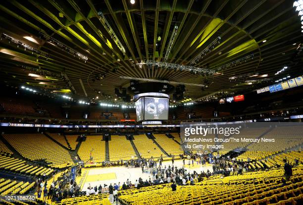 A view from the upper seats before as the Golden State Warriors prepare to take on the Cleveland Cavaliers in Game 2 of the NBA Finals at Oracle...