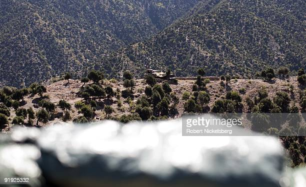 A view from the US Army's Korengal Outpost looks over an attached Afghan National Army base in the Korengal Valley September 4 2009 in Kunar province...