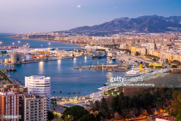 view from the view point of gibralfaro by the castle with the harbor of malaga at sunrise, malaga, andalusia, spain, europe - マラガ県 ストックフォトと画像