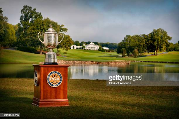 A view from the Wanamaker Trophy from the 17th hole at Quail Hollow Club on September 30 2016 in Charlotte North Carolina